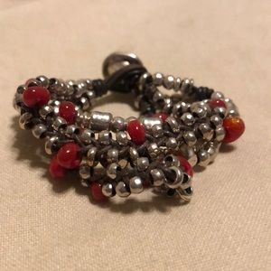 UNOde50 Retired Bracelet Red Silver Leather NWT